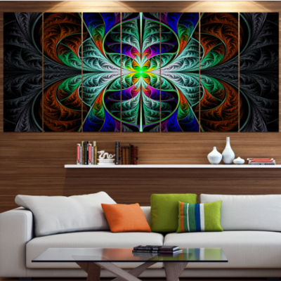Designart Fabulous Blue Fractal Texture AbstractCanvas Art Print - 6 Panels