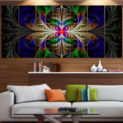 Designart Fabulous Multi Color Fractal Art Abstract Canvas Art Print - 7 Panels