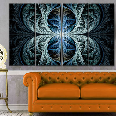Glowing Blue Fabulous Fractal Art Abstract CanvasArt Print - 4 Panels
