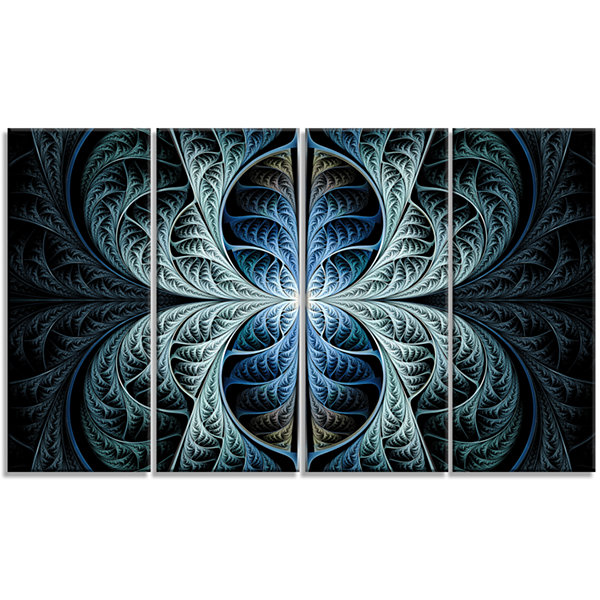 Designart Glowing Blue Fabulous Fractal Art Abstract Canvas Art Print - 4 Panels