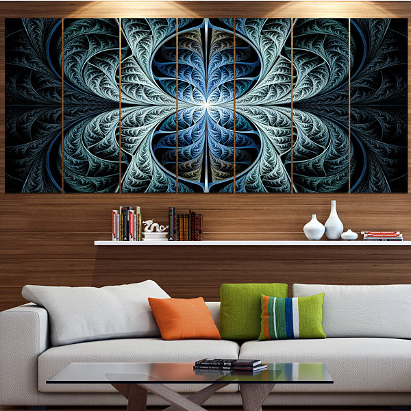 Designart Glowing Blue Fabulous Fractal Art Abstract Canvas Art Print - 5 Panels