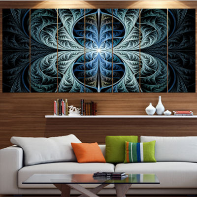 Designart Glowing Blue Fabulous Fractal Art Abstract Canvas Art Print - 6 Panels
