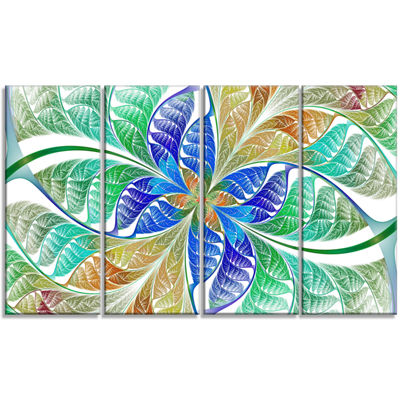 Designart Light Blue Fractal Stained Glass Abstract Canvas Art Print - 4 Panels