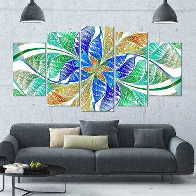 Designart Light Blue Fractal Stained Glass Contemporary Canvas Art Print - 5 Panels