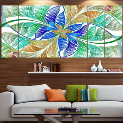 Designart Light Blue Fractal Stained Glass Abstract Canvas Art Print - 5 Panels