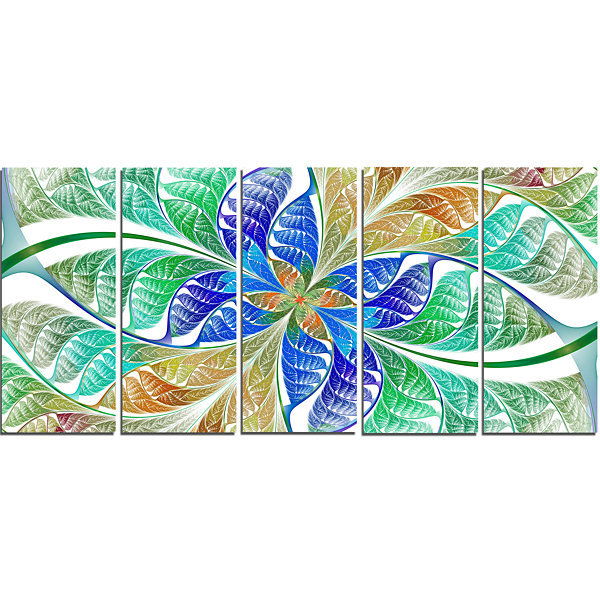 Design Art Light Blue Fractal Stained Glass Abstract Canvas Art Print - 5 Panels