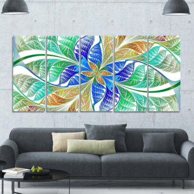 Light Blue Fractal Stained Glass Abstract Canvas Art Print - 5 Panels