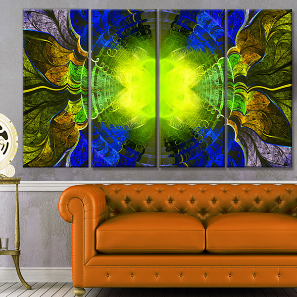 Designart Green Golden Fractal Stained Glass Abstract Canvas Art Print - 4 Panels