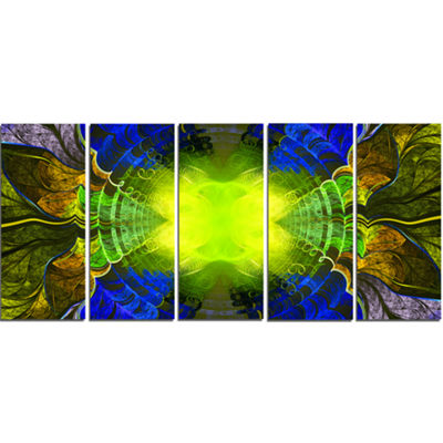 Designart Green Golden Fractal Stained Glass Abstract Canvas Art Print - 5 Panels