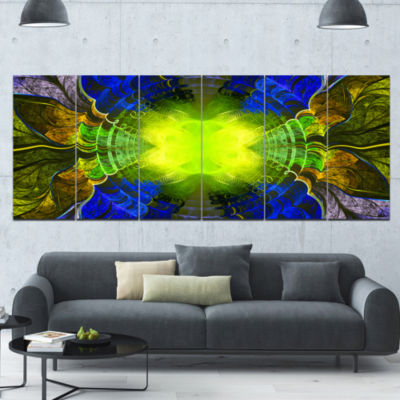 Green Golden Fractal Stained Glass Abstract CanvasArt Print - 6 Panels