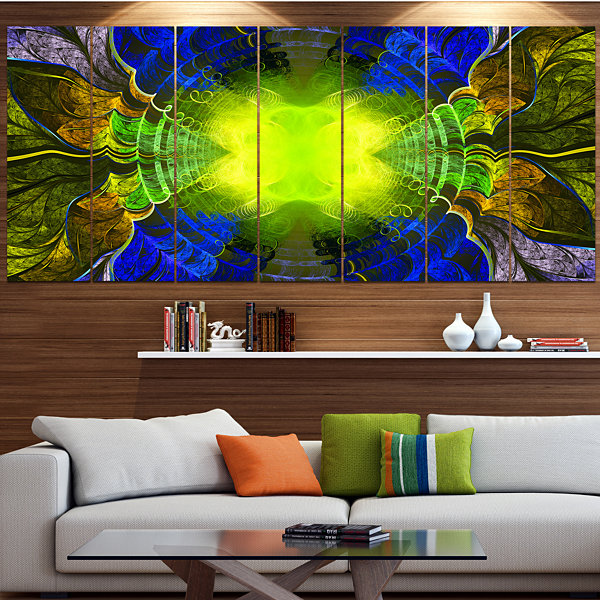 Designart Green Golden Fractal Stained Glass Abstract Canvas Art Print - 6 Panels