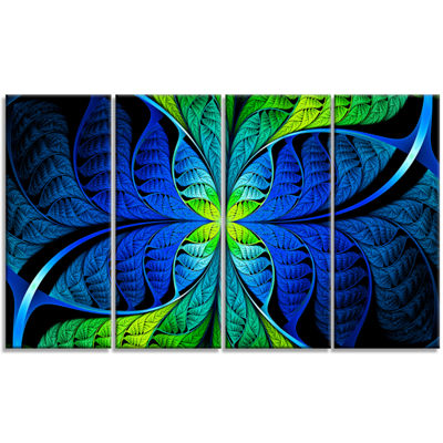 Designart Blue Green Fractal Stained Glass Abstract Canvas Art Print - 4 Panels