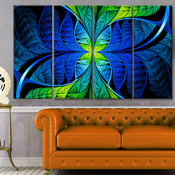 Design Art Blue Green Fractal Stained Glass Abstract Canvas Art Print - 4 Panels