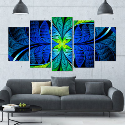Designart Blue Green Fractal Stained Glass Contemporary Canvas Art Print - 5 Panels
