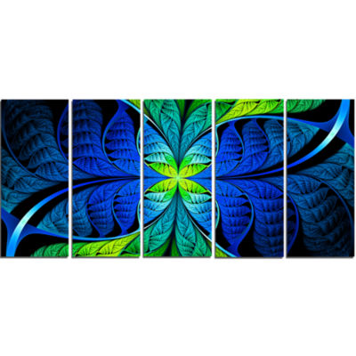 Blue Green Fractal Stained Glass Abstract Canvas Art Print - 5 Panels