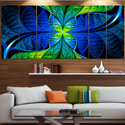 Designart Blue Green Fractal Stained Glass Abstract Canvas Art Print - 5 Panels