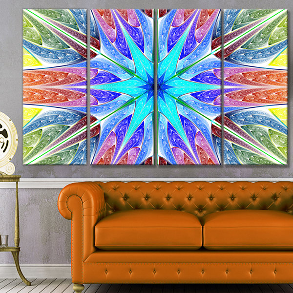 Designart Multi Color Pink Fractal Stained GlassAbstract Canvas Art Print - 4 Panels