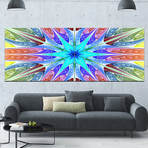 Designart Multi Color Pink Fractal Stained GlassAbstract Canvas Art Print - 6 Panels