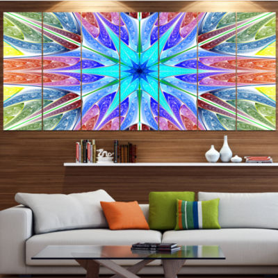 Designart Multi Color Pink Fractal Stained GlassAbstract Canvas Art Print - 7 Panels