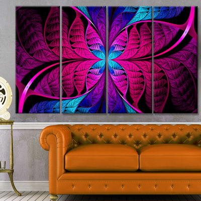Designart Bright Pink Fractal Stained Glass Abstract Canvas Art Print - 4 Panels