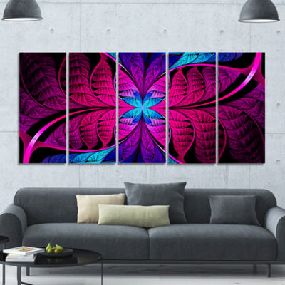 Designart Bright Pink Fractal Stained Glass Abstract Canvas Art Print - 5 Panels