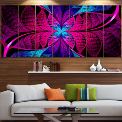 Bright Pink Fractal Stained Glass Abstract CanvasArt Print - 5 Panels