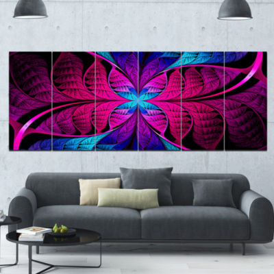 Bright Pink Fractal Stained Glass Abstract CanvasArt Print - 6 Panels