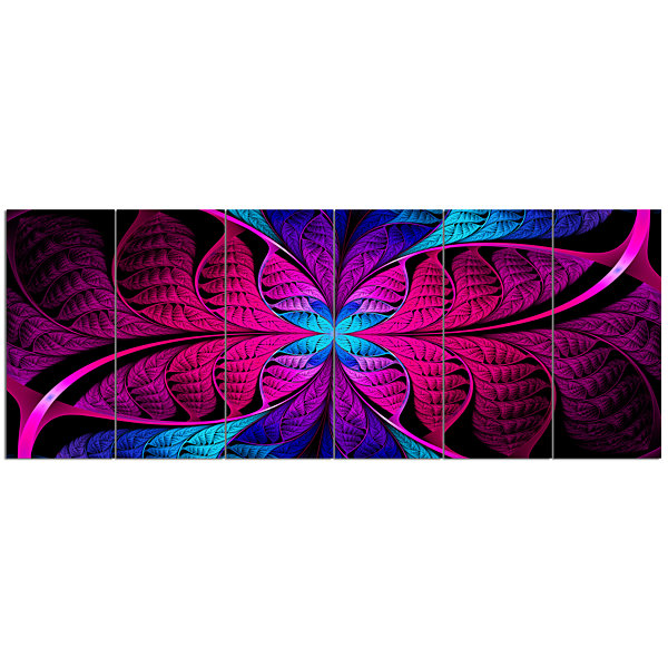 Designart Bright Pink Fractal Stained Glass Abstract Canvas Art Print - 6 Panels