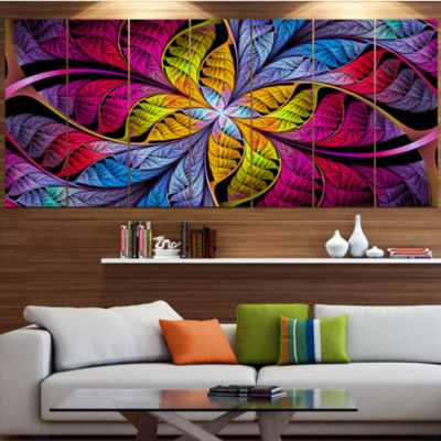 Designart Pink Yellow Fractal Stained Glass Abstract Canvas Art Print - 4 Panels