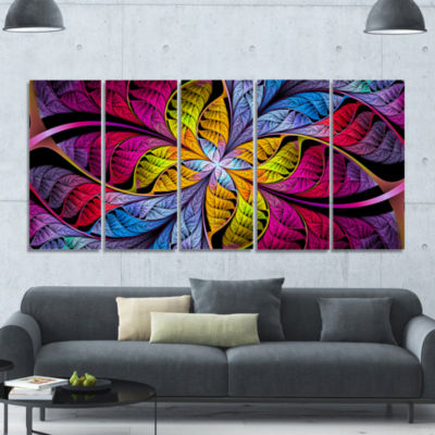 Pink Yellow Fractal Stained Glass Abstract CanvasArt Print - 5 Panels