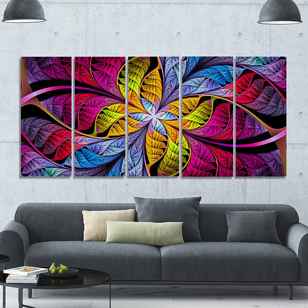 Designart Pink Yellow Fractal Stained Glass Abstract Canvas Art Print - 5 Panels