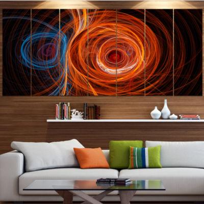 Designart Brown Abstract Fractal Circles Contemporary Canvas Art Print - 5 Panels