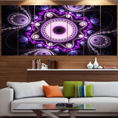 Designart Bright Fractal Circles And Waves Abstract Canvas Art Print - 4 Panels