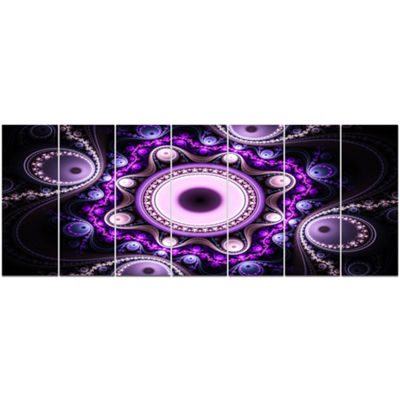 Designart Bright Fractal Circles And Waves Abstract Canvas Art Print - 7 Panels