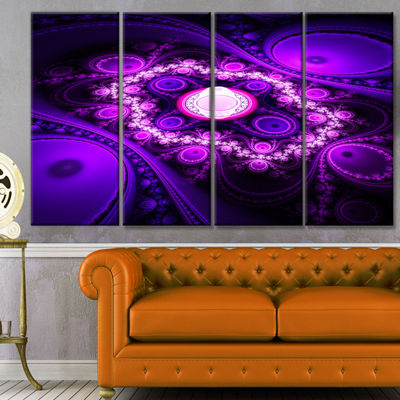 Designart Purple Fractal Circles And Waves Abstract Canvas Art Print - 4 Panels