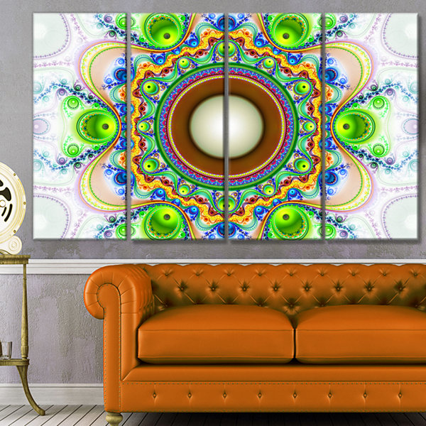 Designart Green Fractal Circles And Waves AbstractCanvas Art Print - 4 Panels