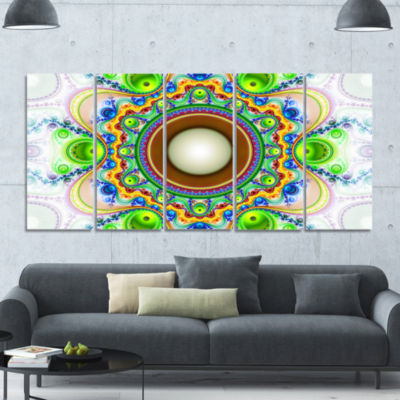 Green Fractal Circles And Waves Abstract Canvas Art Print - 5 Panels