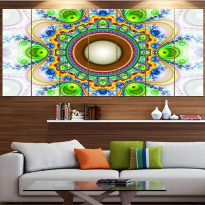 Green Fractal Circles And Waves Abstract Canvas Art Print - 7 Panels