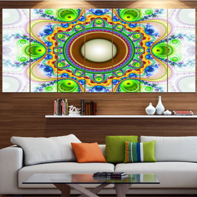 Designart Green Fractal Circles And Waves AbstractCanvas Art Print - 7 Panels