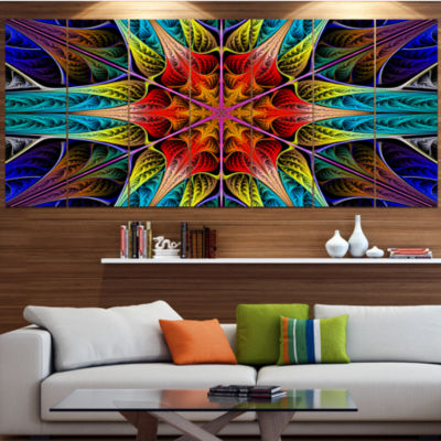 Designart Colorful Fractal Stained Glass AbstractCanvas Art Print - 4 Panels