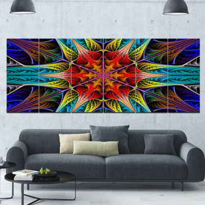 Designart Colorful Fractal Stained Glass AbstractCanvas Art Print - 6 Panels