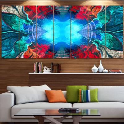 Designart Blue Fractal Circles And Waves AbstractCanvas Art Print - 5 Panels