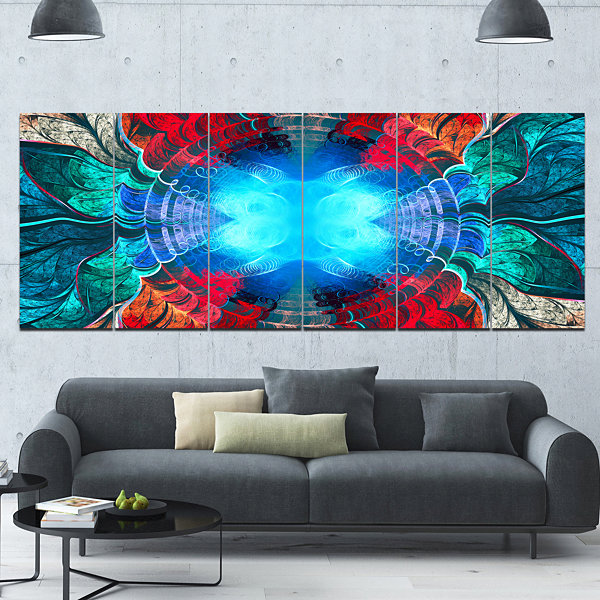 Designart Blue Fractal Circles And Waves AbstractCanvas Art Print - 6 Panels
