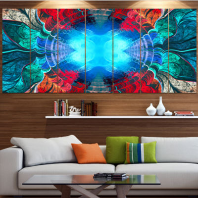 Designart Blue Fractal Circles And Waves AbstractCanvas Art Print - 7 Panels