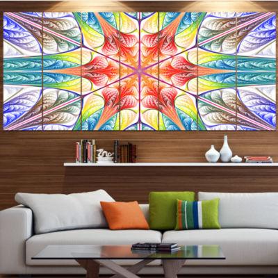 Designart Multi Color Fractal Circles And Waves Abstract Canvas Art Print - 4 Panels