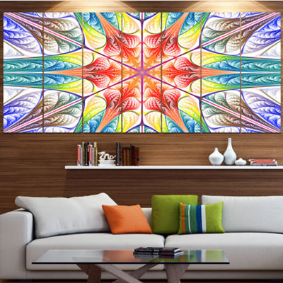 Designart Multi Color Fractal Circles And Waves ContemporaryCanvas Art Print - 5 Panels