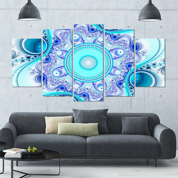 Designart Turquoise Wavy Curves And Circles Contemporary Canvas Art Print - 5 Panels