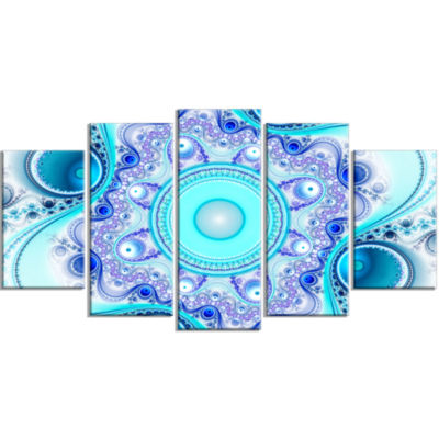 Turquoise Wavy Curves And Circles Contemporary Canvas Art Print - 5 Panels
