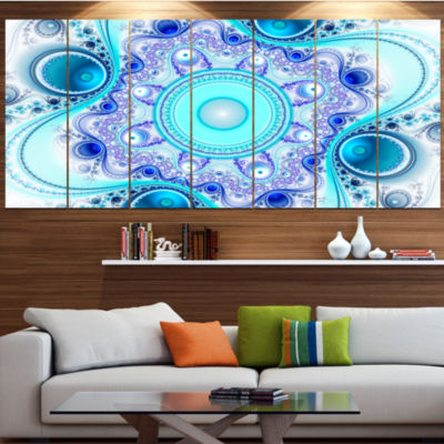 Designart Turquoise Wavy Curves And Circles Abstract Canvas Art Print - 6 Panels