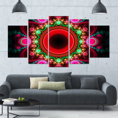 Pink Wavy Curves And Circles Contemporary Canvas Art Print - 5 Panels